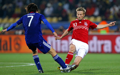 Martin Jørgensen i kampen mod Japan til VM i Sydafrika 2010