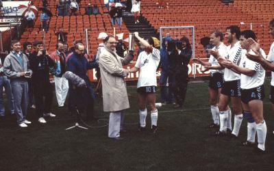 AGF fejring af pokalfinale sejr i 1987
